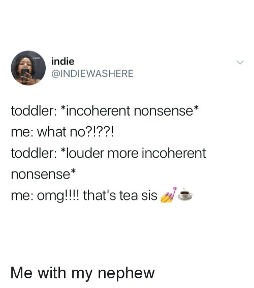 Omg, Girl Memes, and Nonsense: indie  INDIEWASHERE  toddler: Kincoherent nonsense*  me: what no?!??!  toddler: *louder more incoherent  nonsense*  me: omg!!! that's tea  sis Me with my nephew
