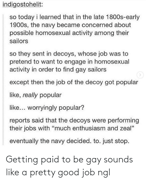 "late: indigostohelit:  so today i learned that in the late 1800s-early  1900s, the navy became concerned about  possible homosexual activity among their  sailors  so they sent in decoys, whose job was to  pretend to want to engage in homosexual  activity in order to find gay sailors  except then the job of the decoy got popular  like, really popular  like... worryingly popular?  reports said that the decoys were performing  their jobs with ""much enthusiasm and zeal""  eventually the navy decided. to. just stop. Getting paid to be gay sounds like a pretty good job ngl"