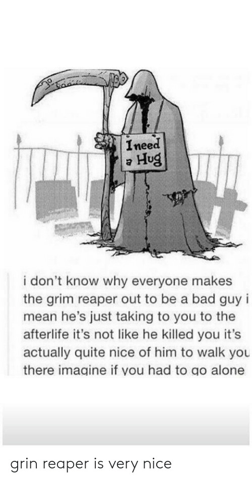 Ineed: Ineed  Hug  i don't know why everyone makes  the grim reaper out to be a bad guy i  mean he's just taking to you to the  afterlife it's not like he killed you it's  actually quite nice of him to walk you  there imagine if you had to go alone grin reaper is very nice