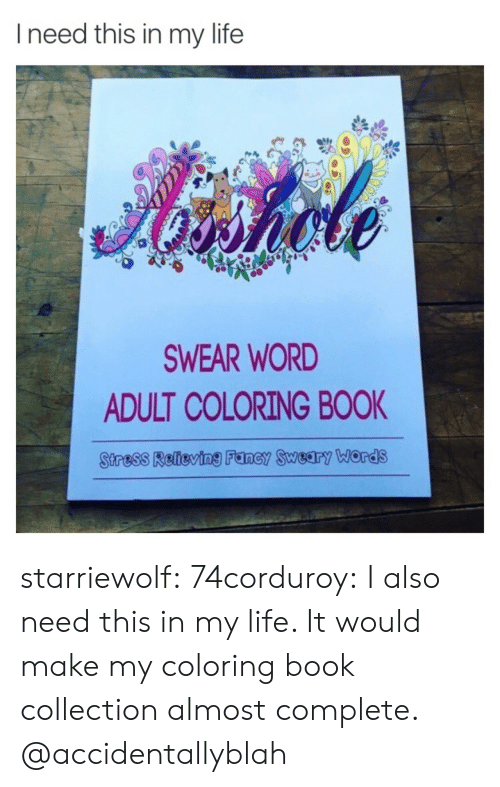 Coloring Book: Ineed this in my life  Aiahole  SWEAR WORD  ADULT COLORING BOOK  Stress Relieving Fancy Sweary ords starriewolf: 74corduroy:  I also need this in my life. It would make my coloring book collection almost complete.   @accidentallyblah