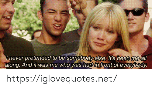 Been, Net, and Who: Inever pretended to be somebodyelse. It's been me all  along. And it was me who was hurt in front of everybody. https://iglovequotes.net/