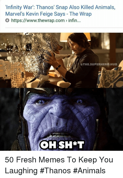 marvels: 'Infinity War: Thanos' Snap Also Killed Animals,  Marvel's Kevin Feige Says - The Wrap  0 https://www.thewrap.com infin...  @THE.SUPERHERO HUB 50 Fresh Memes To Keep You Laughing #Thanos #Animals