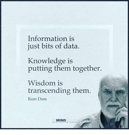 Transcendance: Information is  just bits of data  Knowledge is  putting them together.  Wisdom is  transcending them.  Ram Dass  MIND  UNCOVER YOUR TRUE POTENTIAL