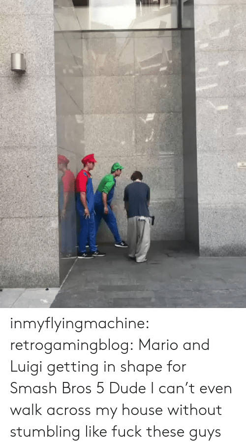 Smash Bros: inmyflyingmachine:  retrogamingblog: Mario and Luigi getting in shape for Smash Bros 5  Dude I can't even walk across my house without stumbling like fuck these guys