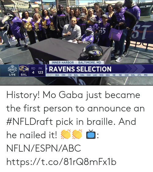 Baltimore: INNER HARBOR BALTIMORE, MD  RDPRAVENS SELECTION  4 123  DRAFT  LIVE BAL  NEXT SEA CIN CHI BAL DAL OAK LAC WAS SEA NE NE OAK DAL ATL PHI History! Mo Gaba just became the first person to announce an #NFLDraft pick in braille.  And he nailed it! 👏👏   📺: NFLN/ESPN/ABC https://t.co/81rQ8mFx1b