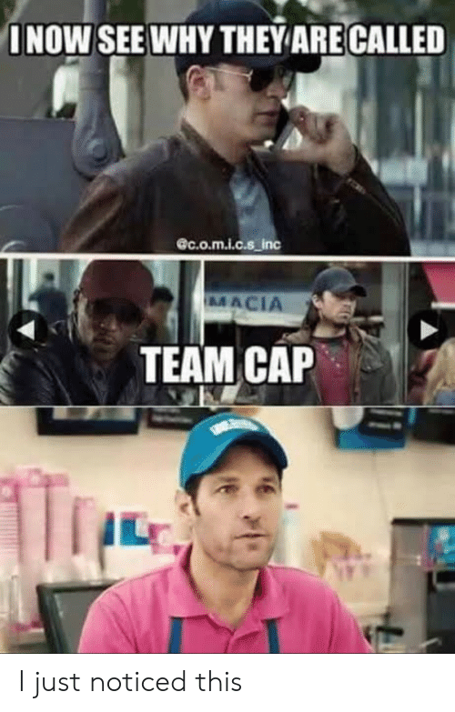 Team Cap: INOW SEE WHY THEYARE CALLED  @c.o.m.i.c.s_inc  MACIA  TEAM CAP I just noticed this