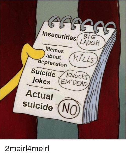 Memes About Depression: Insecurities LAUGH  Memes  about  depression  Suicide KNock  jokes EM DEAD  Actual  suicide (NO 2meirl4meirl