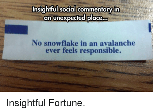 Avalanche, Social, and Feels: Insightful social commentaryin  an unexpected place.  ..  No snowflake in an avalanche  ever feels responsible. <p>Insightful Fortune.</p>