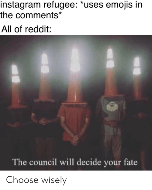 Wisely: instagram refugee: *uses emojis in  the comments*  All of reddit:  The council will decide your fate Choose wisely