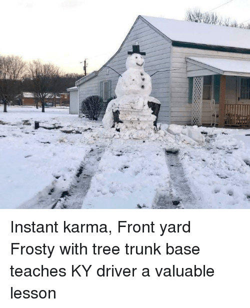 instant karma: Instant karma, Front yard Frosty with tree trunk base teaches KY driver a valuable lesson