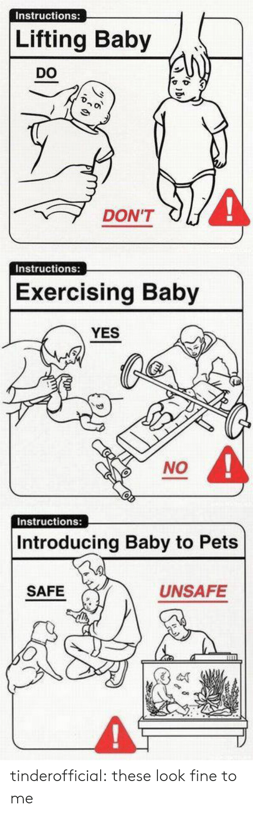 Tumblr, Blog, and Pets: Instructions:  Lifting Baby  DO  4  DON'T   Instructions:  Exercising Baby  YES  NO   Instructions:  Introducing Baby to Pets  SAFE  UNSAFE tinderofficial: these look fine to me