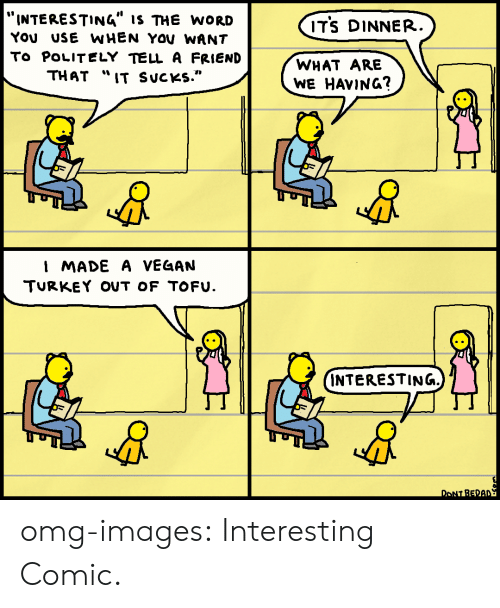 """Omg, Tumblr, and Blog: """"INTERESTING"""" IS THE WORD  YOU USE WHEN YOV WANT  To POLITELY TELL A FRIEND  THAT """"IT SucKs.""""  ITS DINNER  WHAT ARE  WE HAVING?  I MADE A VEG4AN  TURKEY OUT OF TOFU.  INTERESTING.  M1  DONT BEDA omg-images:  Interesting Comic."""
