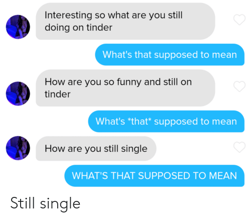 you so funny: Interesting so what are you still  doing on tinder  What's that supposed to mean  How are you so funny and still on  tinder  What's *that* supposed to mean  How are you still single  WHAT'S THAT SUPPOSED TO MEAN Still single