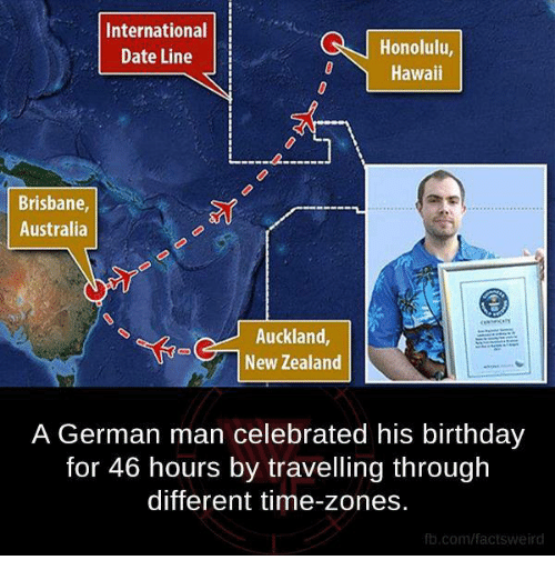 time zones: International  Honolulu,  Date Line  Hawaii  Brisbane,  Australia  Auckland  New Zealand  A German man celebrated his birthday  for 46 hours by travelling through  different time-zones.  fb.com/facts Weird