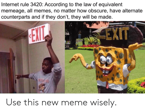 New Meme: Internet rule 3420: According to the law of equivalent  memeage, all memes, no matter how obscure, have alternate  counterparts and if they don't, they will be made  EXIT  EXIT  MARY&D Use this new meme wisely.