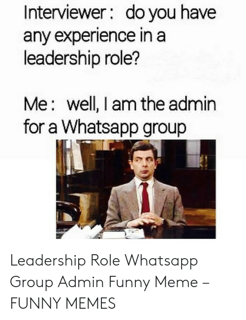 Funny Leadership Meme: Interviewer: do you have  any experience in a  leadership role?  Me: well, I am the admin  for a Whatsapp group Leadership Role Whatsapp Group Admin Funny Meme – FUNNY MEMES