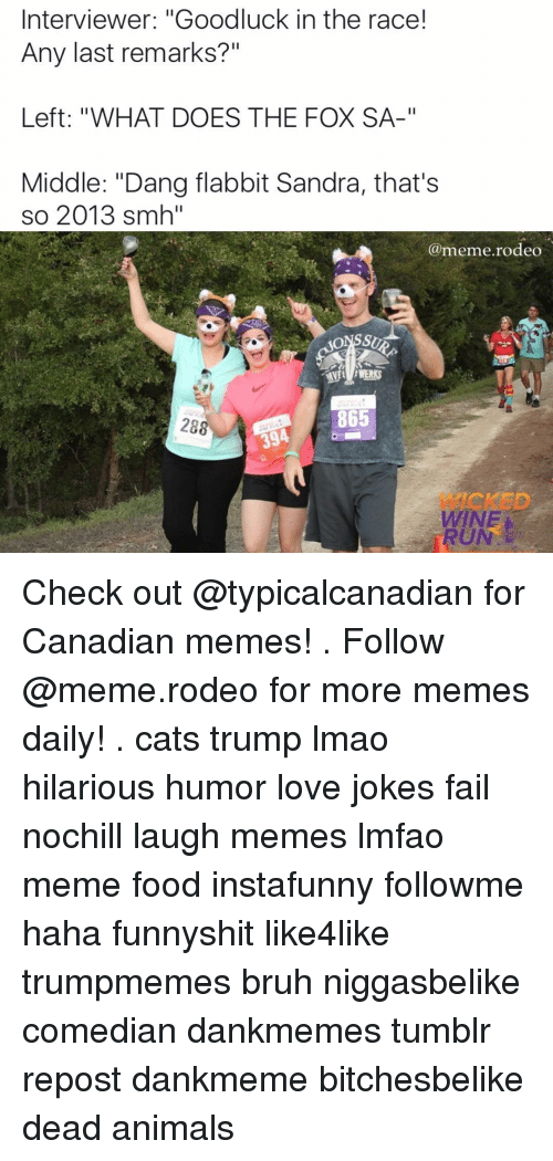 """Canadian Meme: Interviewer: """"Goodluck in the race!  Any last remarks?""""  Left: """"WHAT DOES THE FOX SA-""""  Middle: """"Dang flabbit Sandra, that's  so 2013 smh""""  (a eme rodeo  t HWERKS  865 Check out @typicalcanadian for Canadian memes! . Follow @meme.rodeo for more memes daily! . cats trump lmao hilarious humor love jokes fail nochill laugh memes lmfao meme food instafunny followme haha funnyshit like4like trumpmemes bruh niggasbelike comedian dankmemes tumblr repost dankmeme bitchesbelike dead animals"""