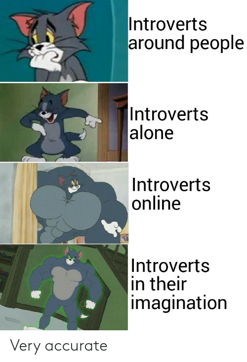 imagination: Introverts  around people  |Introverts  alone  Introverts  online  Introverts  in their  imagination Very accurate