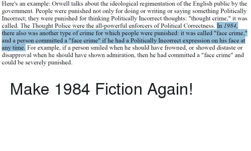 "Crime, Police, and Politics: ion of the English publie by the  govemment. People were punished not only for doing or writing or saying something Politically  Incorrect; they were punished for thinking Politically Incorrect thoughts: ""thought crime,"" it was  called. The Thought Police were the all-powerful enforcers of Political Correctness. In 1984,  there also was another type of crime for which people were punished: it was called ""face crime,""  and a person committed a ""face crime"" if he had a Politically Incorrect expression on his face at  any time. For example, if a person smiled when he should have frowned, or showed distaste or  disapproval when he should have shown admiration, then he had committed a ""face crime"" and  could be severely punished."