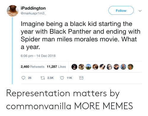 Miles Morales: iPaddington  @markuspr1m3  Follow  Imagine being a black kid starting the  year with Black Panther and ending with  Spider man miles morales movie. What  a year.  6:06 pm -14 Dec 2018  2,460 Retweets 11,287 Likes Representation matters by commonvanilla MORE MEMES