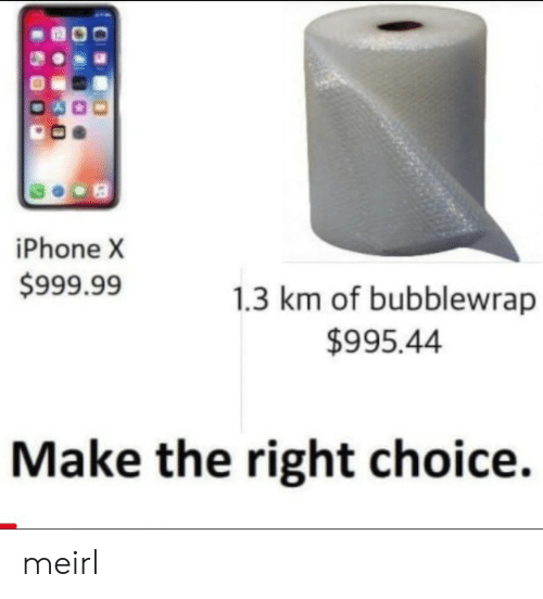 Iphone X: iPhone X  $999.99  1.3 km of bubblewrap  $995.44  Make the right choice. meirl
