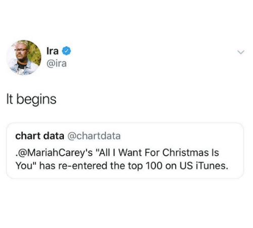 """All I Want for Christmas Is You, Anaconda, and Christmas: Ira  @ira  It begins  chart data @chartdata  .@MariahCarey's """"All I Want For Christmas Is  You"""" has re-entered the top 100 on US iTunes."""
