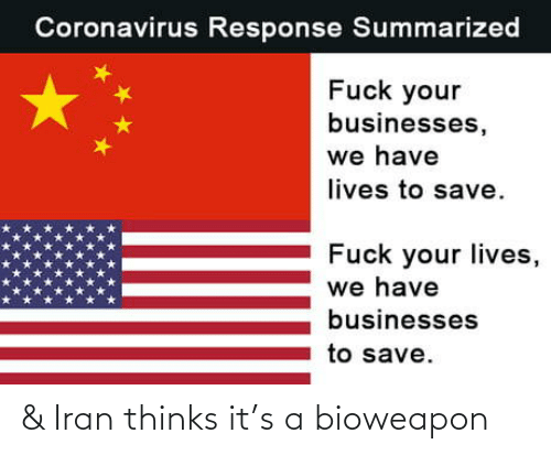 Thinks: & Iran thinks it's a bioweapon