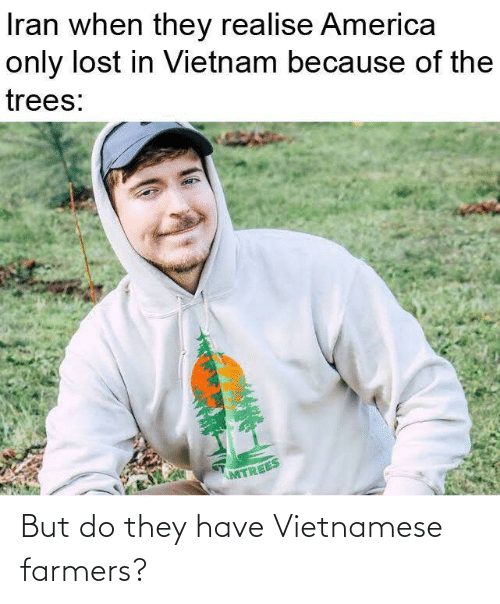 Vietnamese: Iran when they realise America  only lost in Vietnam because of the  trees:  MTREES But do they have Vietnamese farmers?