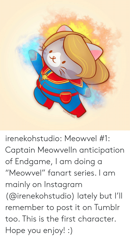 "Instagram, Tumblr, and Blog: irenekohstudio:  Meowvel #1: Captain MeowvelIn anticipation of Endgame, I am doing a ""Meowvel"" fanart series. I am mainly on Instagram (@irenekohstudio) lately but I'll remember to post it on Tumblr too. This is the first character. Hope you enjoy! :)"