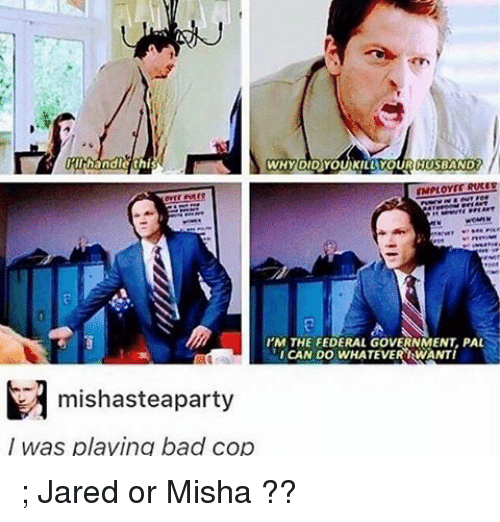 Memes, Jared, and Bad Cop: IRllhhandle this  WHY DID YOUKILL YOURCIUSBAND  I'M THE FEDERAL GovERNMENT PAL  ICAN DO WHATEVER IRWANTI  M mishasteaparty  was playing bad cop ; Jared or Misha ??