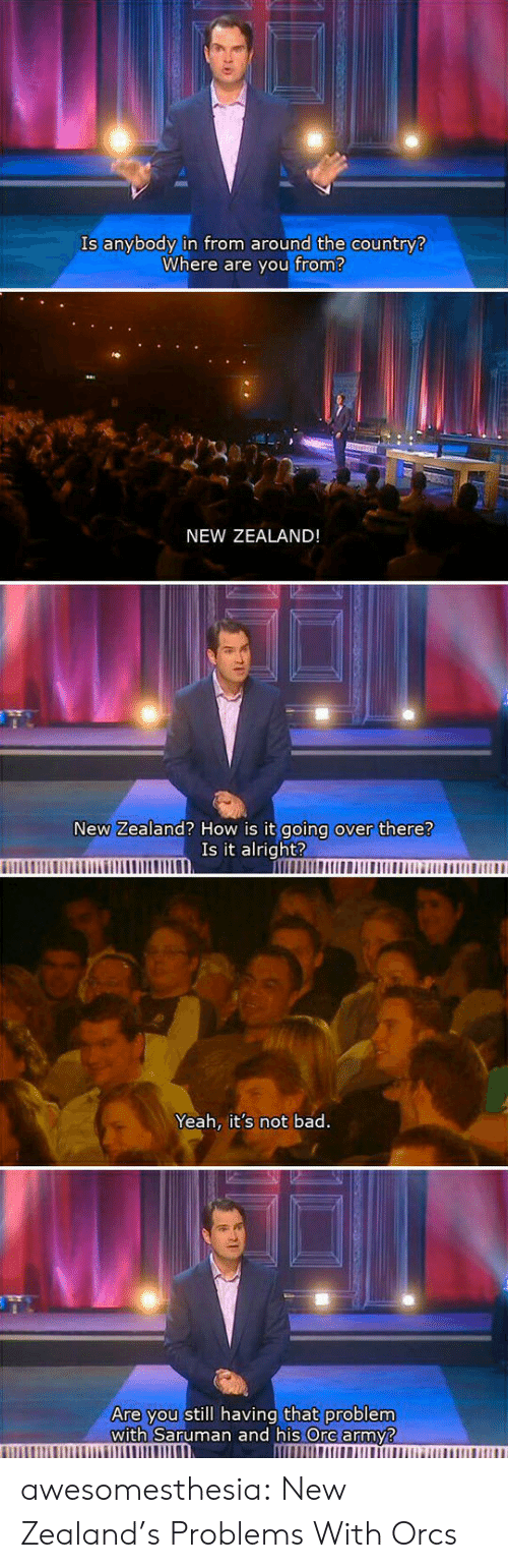 where are you: Is anybody in from around the country?  Where are you from?  NEW ZEALAND!  New Zealand? How is it going over there?  Is it alright?  Yeah, it's not bad.  Are you still having that problem  with Saruman and his Ore army? awesomesthesia:  New Zealand's Problems With Orcs