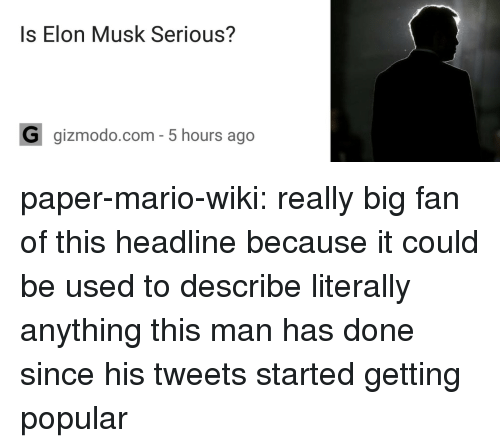 Gizmodo: Is Elon Musk Serious?  G gizmodo.com- 5 hours ago paper-mario-wiki:  really big fan of this headline because it could be used to describe literally anything this man has done since his tweets started getting popular