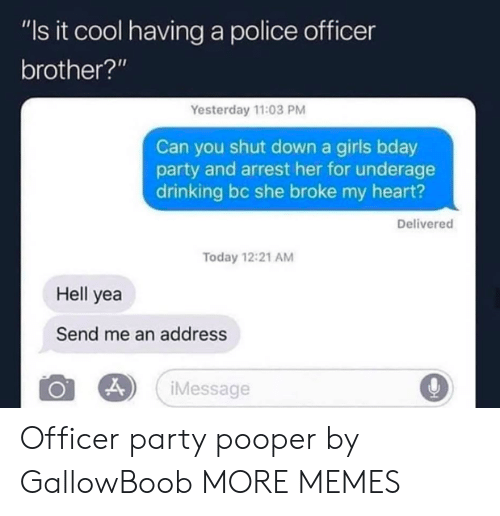 """Dank, Drinking, and Girls: """"Is it cool having a police officer  brother?'""""  Yesterday 11:03 PM  Can you shut down a girls bday  party and arrest her for underage  drinking bc she broke my heart?  Delivered  Today 12:21 AM  Hell yea  Send me an address  Message Officer party pooper by GallowBoob MORE MEMES"""