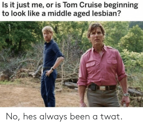 Tom Cruise, Cruise, and Lesbian: Is it just me, or is Tom Cruise beginning  to look like a middle aged lesbian? No, hes always been a twat.