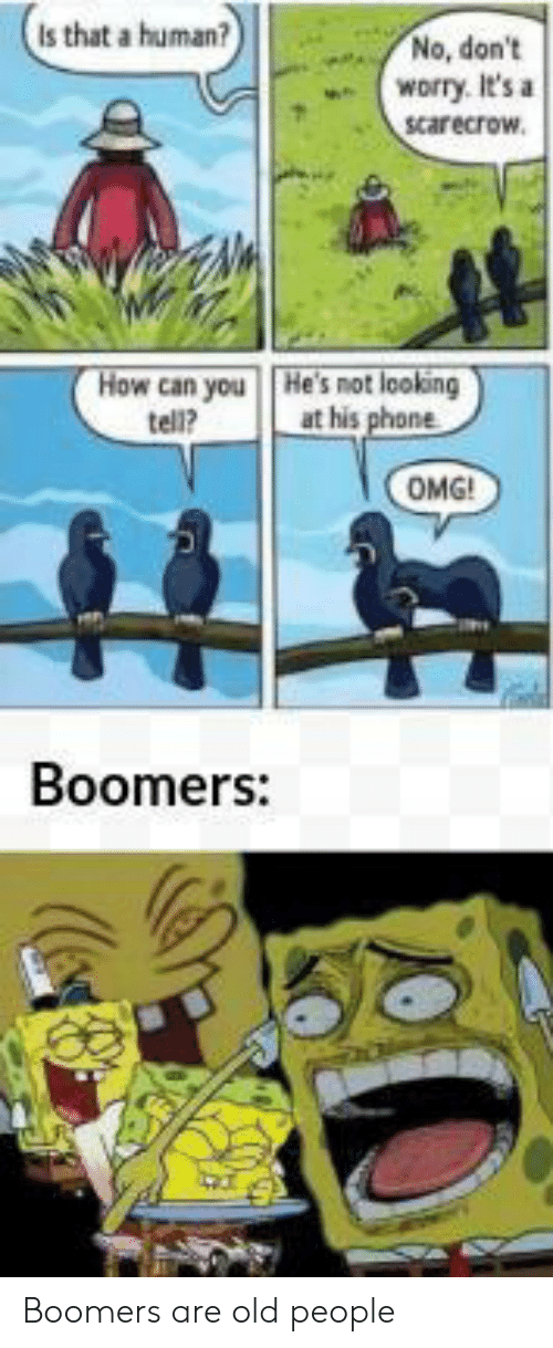 Old People, Omg, and Phone: Is that a human?  No, don't  worry. It's a  scarecrow.  How can you  tell?  He's not looking  at his phone  OMG!  Boomers: Boomers are old people