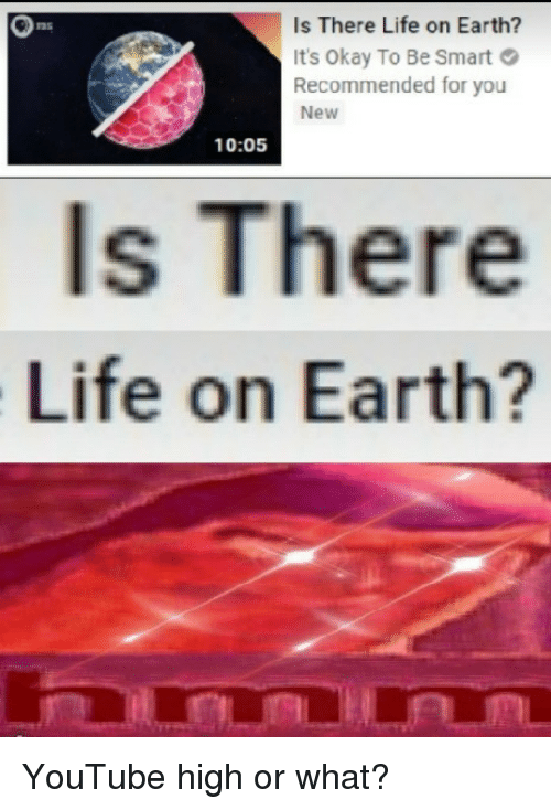 Life, youtube.com, and Earth: Is There Life on Earth?  It's Okay To Be Smart  Recommended for you  New  135  10:05  ls There  Life on Earth? YouTube high or what?