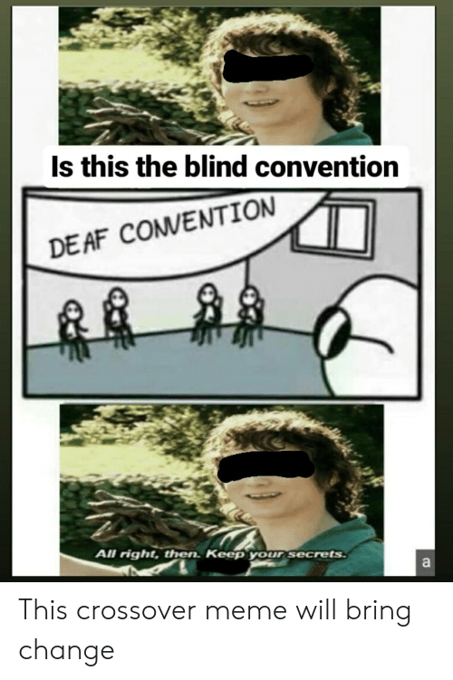 convention: Is this the blind convention  DE AF COMVENTION  All right, then. Keep your secrets  a This crossover meme will bring change