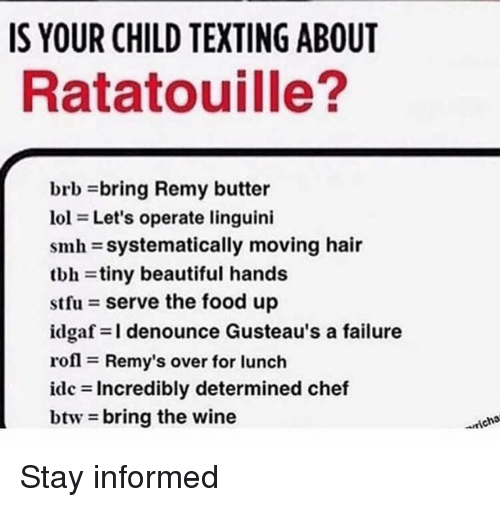 Beautiful, Food, and Smh: IS YOUR CHILD TEXTING ABOUT  Ratatouille?  brb bring Remy butter  101 = Let's operate linguini  smh-systematically moving hair  tbh tiny beautiful hands  stfu = serve the food up  idgaf=l denounce Gusteau's a failure  rofl = Remy's over for lunch  idc = Incredibly determined chef  btw-bring the wine  richo Stay informed