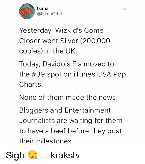 Bailey Jay, Beef, and Memes: Isima  @lsimaOdeh  Yesterday, Wizkid's Come  Closer went Silver (200,000  copies) in the UK.  Today, Davido's Fia moved to  the #39 spot on iTunes USA Pop  Charts.  None of them made the news.  Bloggers and Entertainment  Journalists are waiting for them  to have a beef before they post  their milestones Sigh 😪 . . krakstv