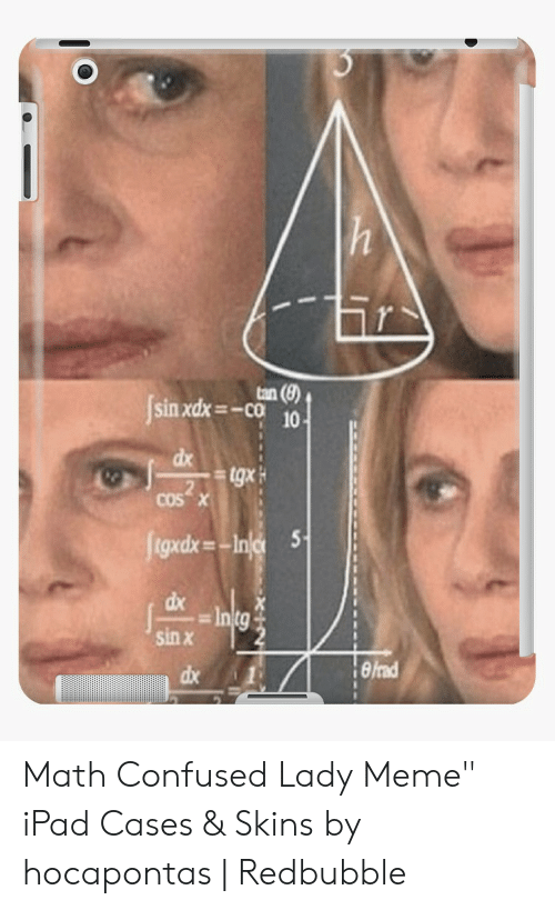"""Confused Lady Meme: Isin xdx=  -co  10  dx  2  cos x  5  gxdx  sin x  dx 1  rad  ах Math Confused Lady Meme"""" iPad Cases & Skins by hocapontas 