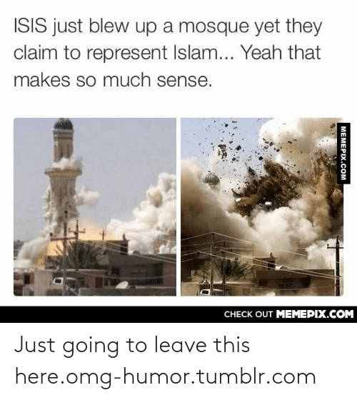 Just Going To Leave This Here: ISIS just blew up a mosque yet they  claim to represent Islam... Yeah that  makes so much sense.  CHECK OUT MEMEPIX.COM  MEMEPIX.COM Just going to leave this here.omg-humor.tumblr.com