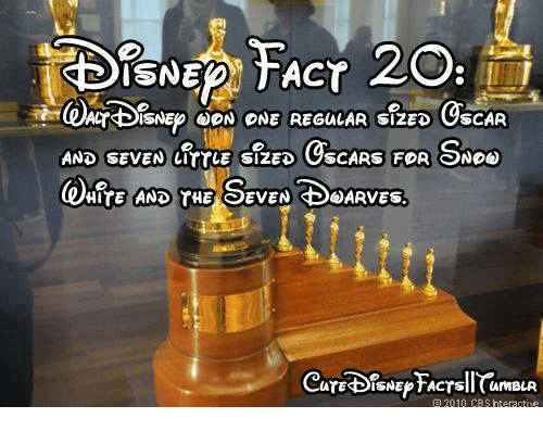 snoo: ISNEDN TACT  CYBISNEPOON ONE REGULAR SIZED OSCAR  AND SEVEN LITTLE SIZED  OSCARS FOR SNOo  HITE AND THE SEVEN SBSARVES.  ATESBISNEPTACTsil CamBLR  a 2010 CBS rteractne