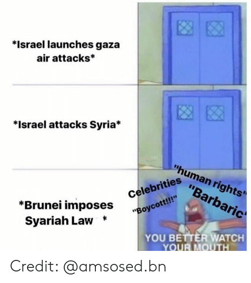 """Memes, Israel, and Syria: *Israel launches gaza  air attacks*  *Israel attacks Syria*  """"human rights'  """"Barbaric  """"Boycott!!  Syariah Law *  iahi ^Oses Celebrities  YOU BETTER WATCH  YOUR MOUTH Credit: @amsosed.bn"""