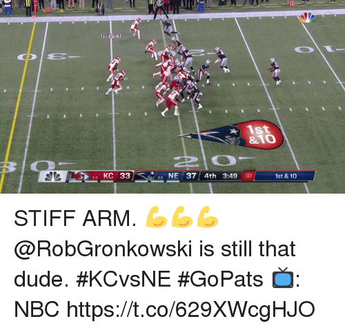 stiff: ist  &10  50 KC 33  NE 37 4th 3:49 :071  1st & 10  3-2 STIFF ARM. 💪💪💪  @RobGronkowski is still that dude. #KCvsNE #GoPats  📺: NBC https://t.co/629XWcgHJO
