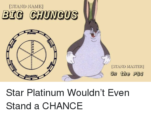Istand Name Big Chungus Stand Master On The Ps4 Ducability Ps4
