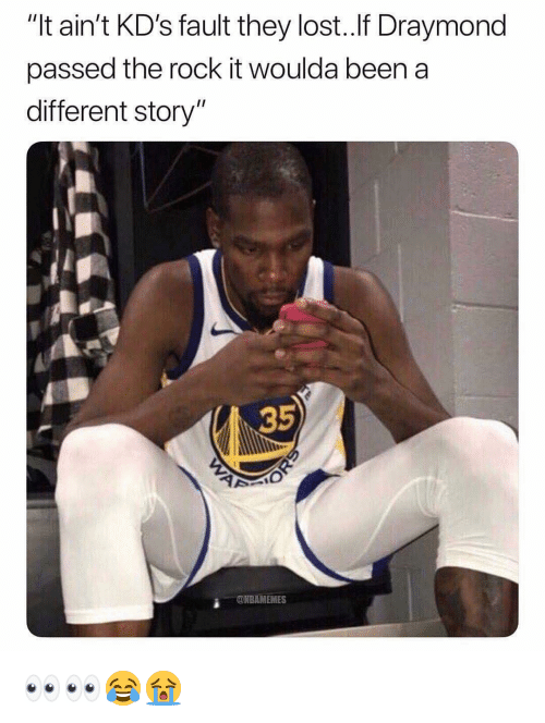 """Nba, The Rock, and Lost: """"It ain't KD's fault they lost.If Draymond  passed the rock it woulda beena  different story""""  35  2  ONBAMEMES 👀👀😂😭"""