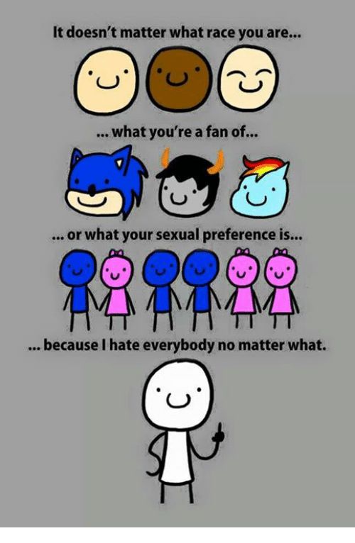 I Hate Everybody: It doesn't matter what race you are...  what you're a fan of...  or what your sexual preference is...  because I hate everybody no matter what.