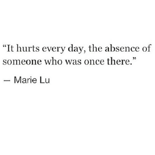 """Once, Who, and Day: """"It hurts every day, the absence of  someone who was once there.""""  35  Marie Lu"""