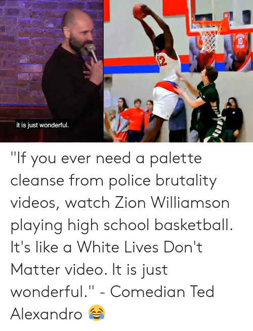 """Cleanse: it is just wonderful """"If you ever need a palette cleanse from police brutality videos, watch Zion Williamson playing high school basketball. It's like a White Lives Don't Matter video. It is just wonderful.""""   - Comedian Ted Alexandro 😂"""