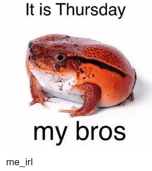 Irl, Me IRL, and Thursday: It is Thursday  my bros